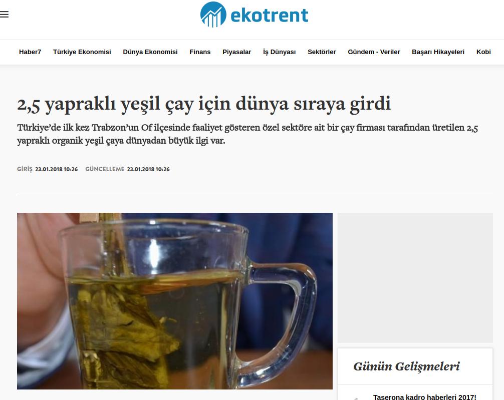haber7.com – 2,5 yapraklı yeşil çay için dünya sıraya girdi